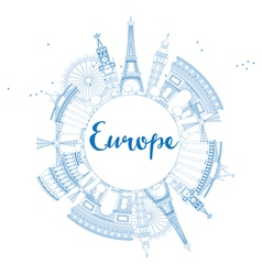 Famous landmarks in europe outline vector
