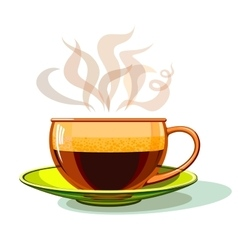 Cup of hot coffee glass vector