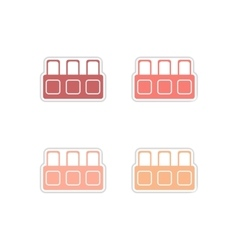 Set of paper stickers on white background tribune vector