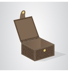 Leather brown gift box with a lid on the button vector