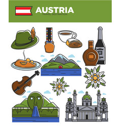 austria travel destination promotional poster with vector image vector image