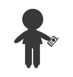 Avatar man holding a cellphone vector