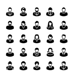 Avatars glyph icons 11 vector