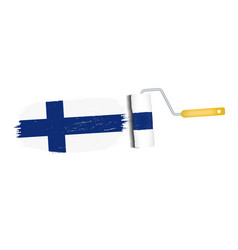brush stroke with finland national flag isolated vector image