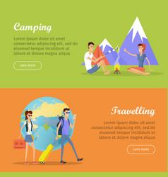 Camping travelling posters web banners marketing vector
