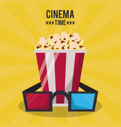 Colorful poster of cinema time with 3d glasses and vector