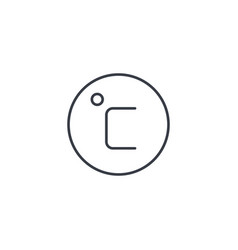 degree celsius thin line icon linear vector image vector image