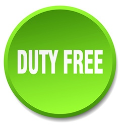 Duty free green round flat isolated push button vector