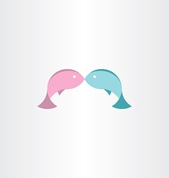 Fish in love abstract icon vector