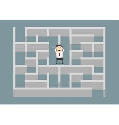 Frustrated businessman trapped in a maze vector image