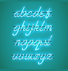 Glowing blue neon lowercase script font vector