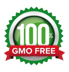 GMO free badge with red ribbon vector image vector image