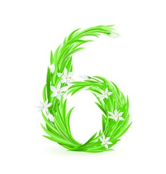 grass letters number 6 vector image