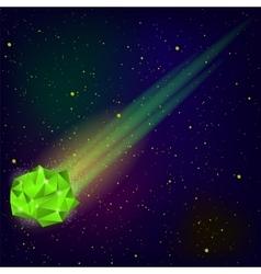 Green falling meteor vector