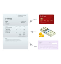 isometric single invoice bank check cash and vector image vector image