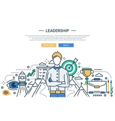 Leadership line flat design website banner vector