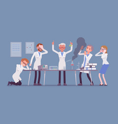Mad scientist failed chemical experiments vector