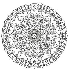 mandala with hearts for coloring book page vector image vector image