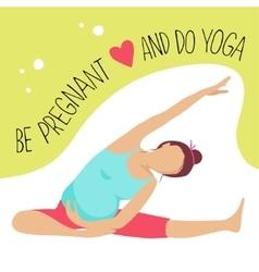 Prenatal yoga pregnant woman doing exercise vector