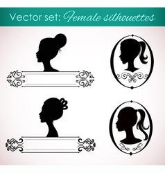 Set of female silhouettes in retro style vector