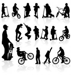 silhouettes children and man vector image vector image