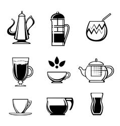 Tea coffee or chocolate drink icons vector