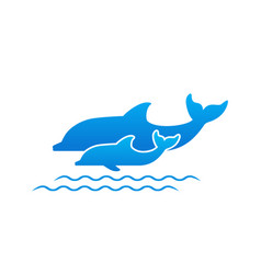 Two dolphins vector