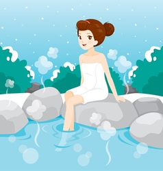 Woman relaxing in hot spring vector