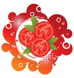 Abstract background with fresh tomatoes vector