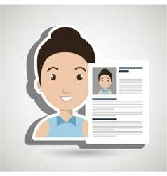 Cv resume woman icon vector