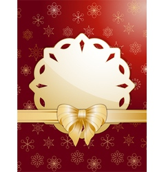 gold christmas bow and label vector image