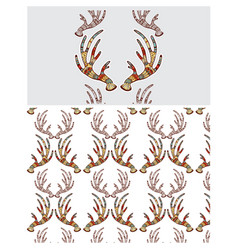 A seamless texture with antlers vector