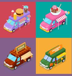 Isometric street food trucks with burger vector