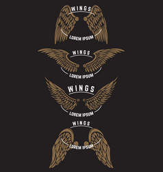 Set of vintage emblem templates with wings design vector