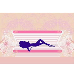 Girl sunbathing in the solarium vector