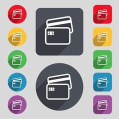 Credit card icon sign a set of 12 colored buttons vector