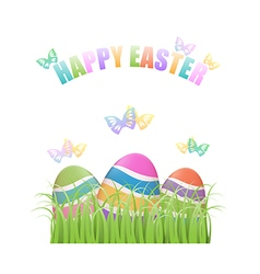 Colorful easter eggs hiding in grass vector