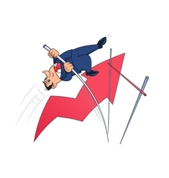 Businessman doing the pole vault 4 vector