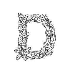 Letter d coloring book for adults vector
