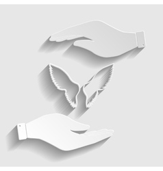 Wings sign paper style icon vector