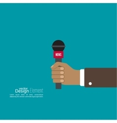 Microphone in hand journalist vector