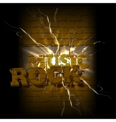 Music on a brick background crack rock vector