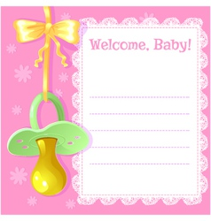 Baby greetings card with pacifier vector image vector image