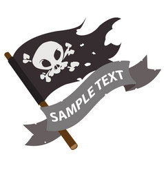 black jolly roger pirate flag with ribbon banner vector image vector image