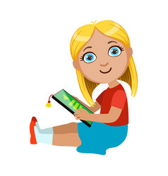 Brond girl sitting reading electronic book part vector