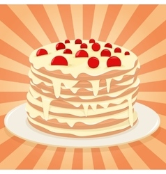 Cake on a plate vector