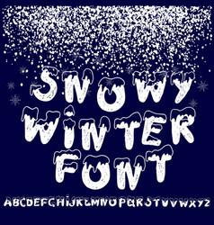 christmas snowy alphabet christmas font with snow vector image