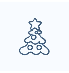 Christmas tree with decoration sketch icon vector image vector image