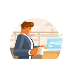 Confident businessman in workplace vector