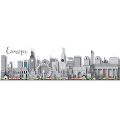 Europe skyline silhouette with different landmarks vector image